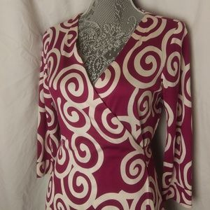 Diane Von Furstenberg Purple White Wrap Dress